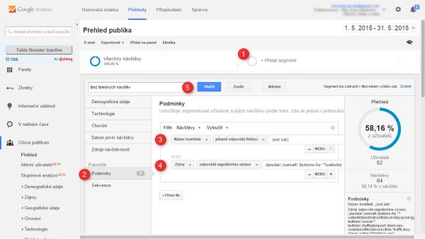Google Analytics: Nastavení segmentu pro odstranění falešných návštěv